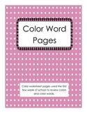 Color Word Pages