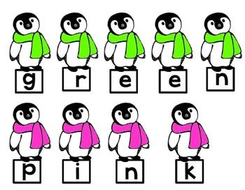 Color Word Penguins