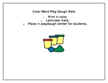 Color Word Play Dough Mats