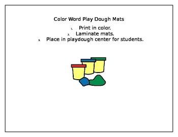 Color Word Play Dough Mats