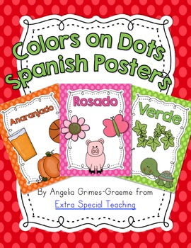 Color Word Polka Dot Posters in SPANISH