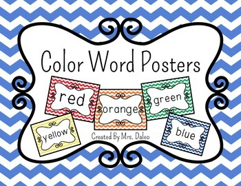 Color Word Posters - Chevron