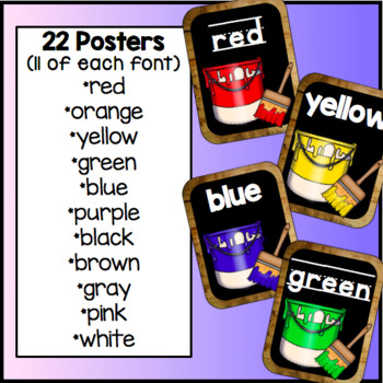Color Word Posters Chalkboard and Wood Classroom Decor