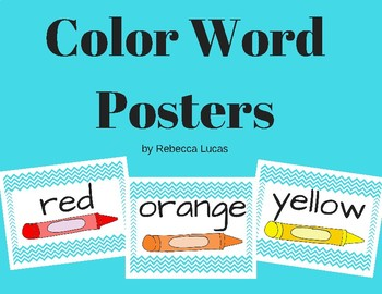 Color Word Posters Chevron Aqua/Teal