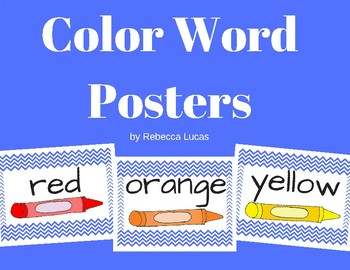 Color Word Posters Chevron Primary Blue