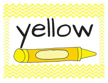 Color Word Posters Chevron Primary Yellow