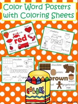 Color Word Posters/Anchor Charts & Coloring Sheets