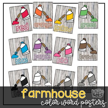 Color Word Posters {Farmhouse Theme}