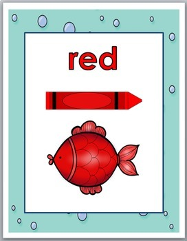 Ocean Theme Classroom Decor -- Color Word Posters