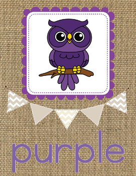 Color Word Posters-Owls and Burlap