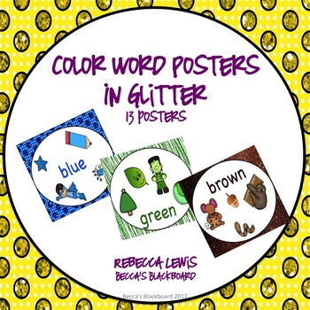 Color Word Posters (Glitter Classroom Decor)