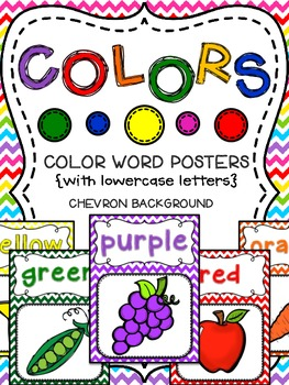 Color Word Posters With Chevron Background (With lowercase Letters)
