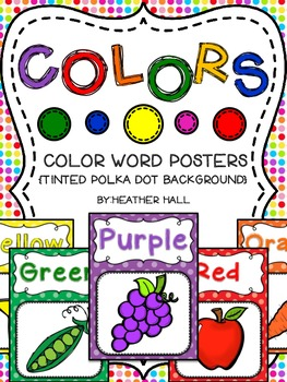 Color Word Posters With Tinted Polka Dot Background