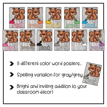 Color Word Posters {Woodland Animal Theme}