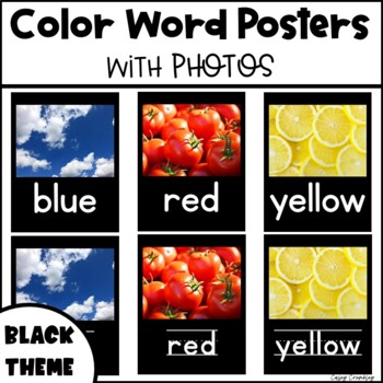 Color Word Posters with Real Photos Pictures Photographs Black Theme