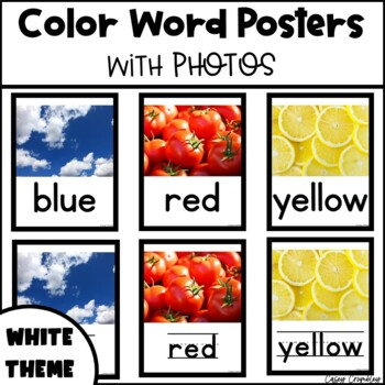 Color Word Posters with Real Photos Pictures Photographs White Theme