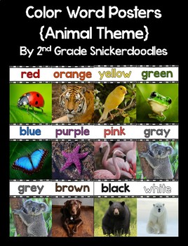 Color Word Posters with Real World Pictures {Animal Theme}