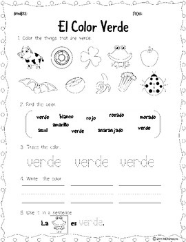 All About Color Words - Practice Worksheets: English & Spanish