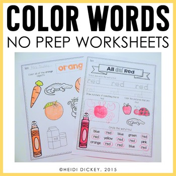 picture about Color Words Printable titled Coloration Term Worksheets