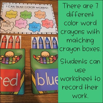 Color Word Puzzle Activity and Worksheet