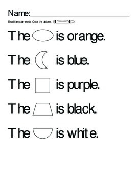 Color Word Rebus - Shapes