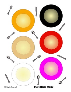 Color Word Recognition File Folder Literacy Center - Plate Theme - Preschool Fun