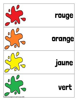 Color Word Recognition Self Checking Cards in French