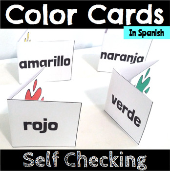 Color Word Recognition Self Checking Cards in Spanish