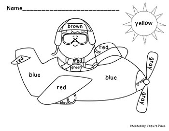 Color Word Recognition  &  Plane Coloring Sheets