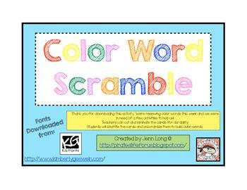 Color Word Scramble~FREEBIE
