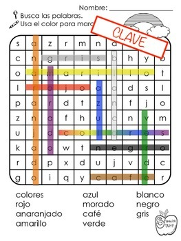 Color Word Search-Spanish and English
