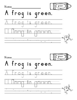 Color Word Sentences using Handwriting Without Tears