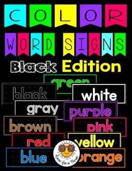 Color Word Signs - Black Edition