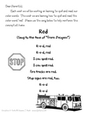 Color Word Song Sheets