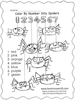 Color Word Spider Freebie CCSS RF.K.3c
