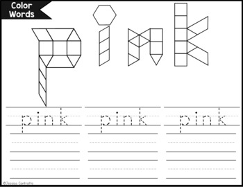 Color Word Task Cards: Pattern Blocks