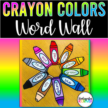 Color Word Wall Crayons 12 piece set 2 font choices
