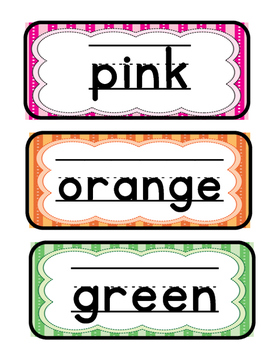 Color Word Wall Strips