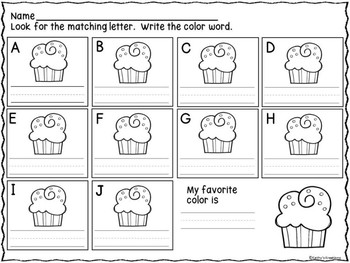 Dollar Deal Color Word Write The Room - Cupcakes