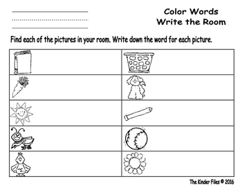 Color Word Write the Room- Includes 3 levels of answer sheets