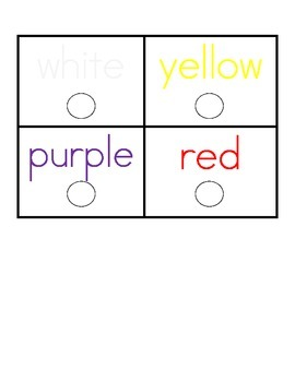 Color Word cards (with dots to color)