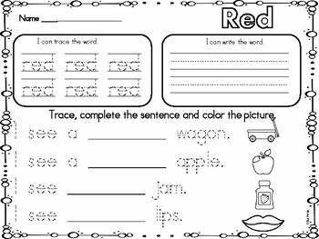 Color Words Word Work