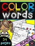 Color Words Worksheets bundle