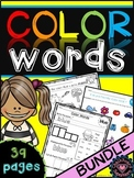 Color Words Worksheets bundle