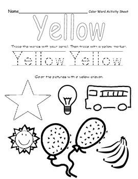 Color Words Activity Set