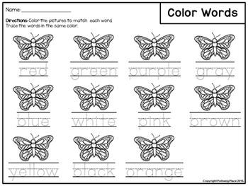 Color Words Activity Set - Colorful Butterflies