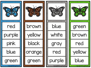 Color Words Activity Set - Colorful Butterflies
