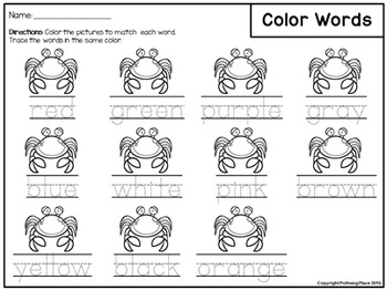 Color Words Activity Set - Colorful Crabs