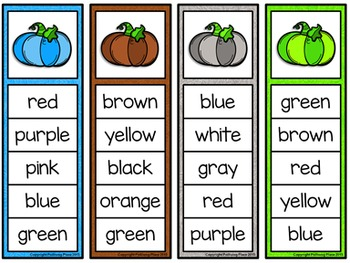 Color Words Activity Set - Colorful Pumpkins {FREEBIE}