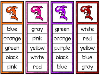 Color Words Activity Set - Colorful Whales